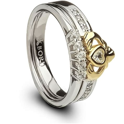 silver   gold ladies claddagh ring set