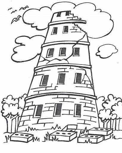 Babel Tower Coloring Pages Bible Crafts Story