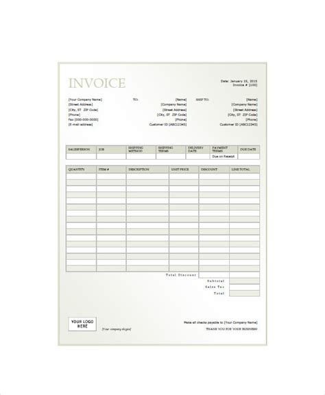 invoice form examples    excel examples