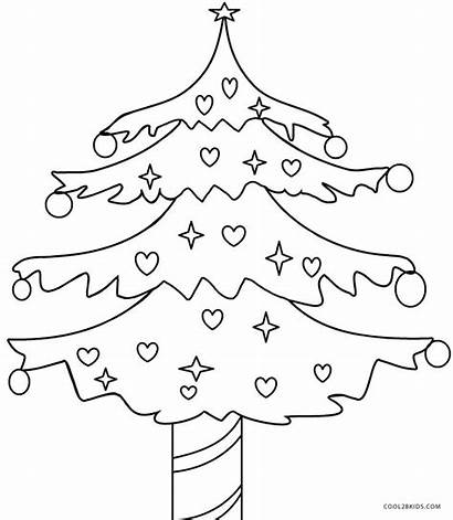 Coloring Tree Christmas Pages Printable Blank Cool2bkids