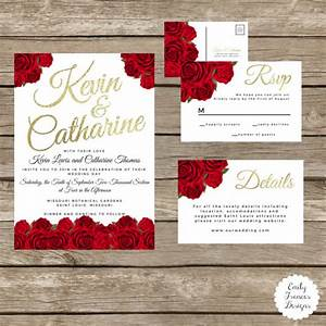 red rose wedding invitation suite red black and gold red With wedding invitations with red roses