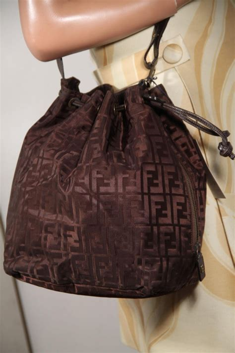 fendi vintage brown ff monogram canvas drawstring bucket bag  sale  stdibs