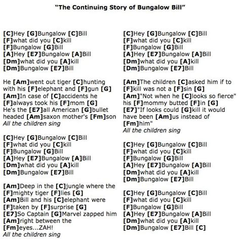 The Continuing Story Of Bungalow Bill (beatles) Ukulele