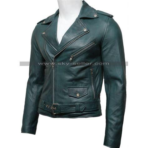 green motorcycle jacket men 39 s green vintage belted motorcycle leather jacket