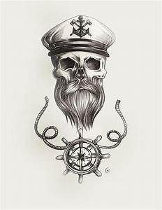 Nautical Bearded Skull Painting by Jasmine Mills