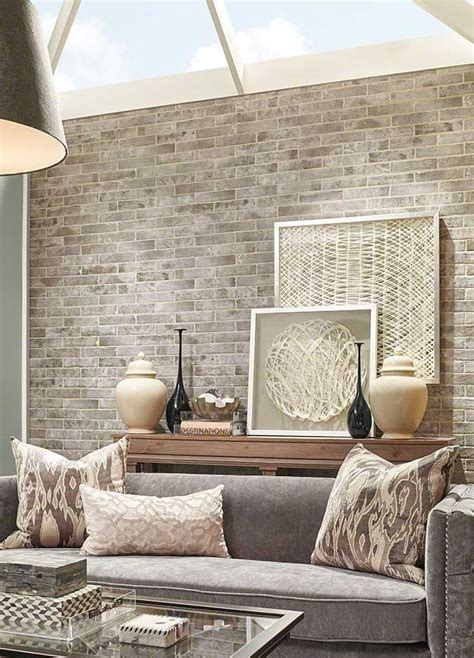 beautiful tan  gray pallet  brick wall farmhouse