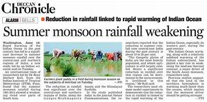 Newspaper highlights – Climate Research Lab, CCCR, IITM
