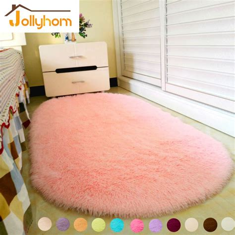 pink bedroom rug lovely ellipse shape pink area rug bedroom living room 12847 | Lovely Ellipse Shape Pink Area Rug Bedroom Living Room Long Hair Shaggy Soft Carpet Popular Non