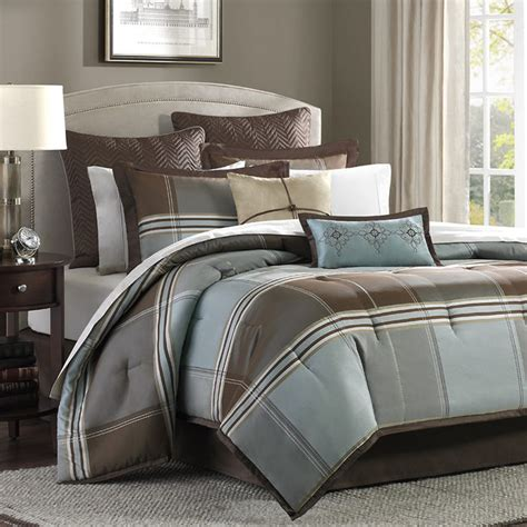 blue brown bed bag luxury 8 pc comforter set cal king