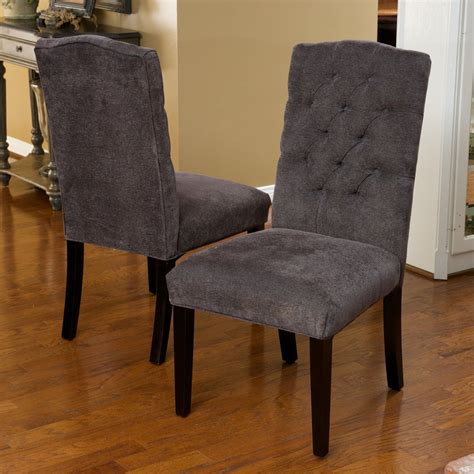 clark grey fabric tufted dining chairs set of 2