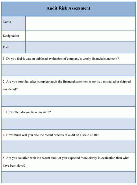 assessment template  audit risk template  audit risk