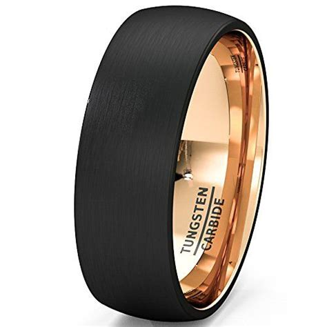 mens wedding band black rose gold tungsten ring brushed