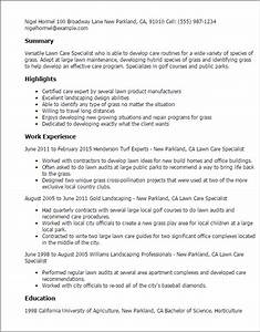 1 lawn care specialist resume templates try them now for Sample resume for lawn care worker