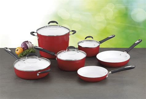 cuisinart elements red ceramic nonstick cookware set  piece cutlery