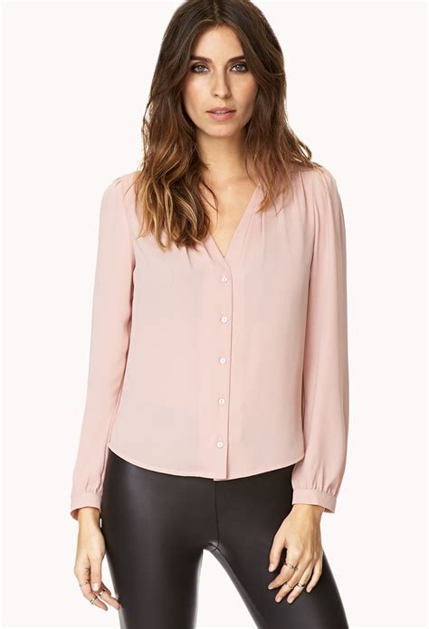 dress blouse forever 21 dusty blouse in pink lyst