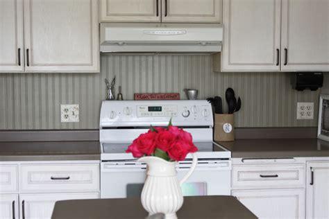Kitchen Backsplash Using Beadboard Wallpaper Transform