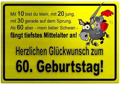 Doch haben wir für diese nacht. Gelbes Schild mit Esel und Ritter zum 60. Geburtstag ...