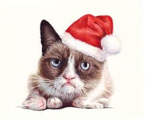 santa cat grumpy cat as santa painting by olga shvartsur