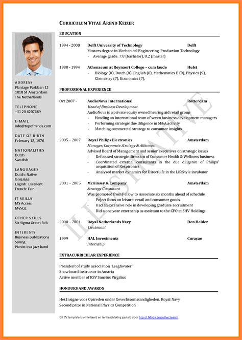 Cv Resume In by 6 Curriculum Vitae For Apply Bussines 2017