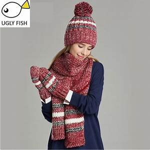 Woman Winter Hat And Gloves Sets Cotton Fashion Women Hat
