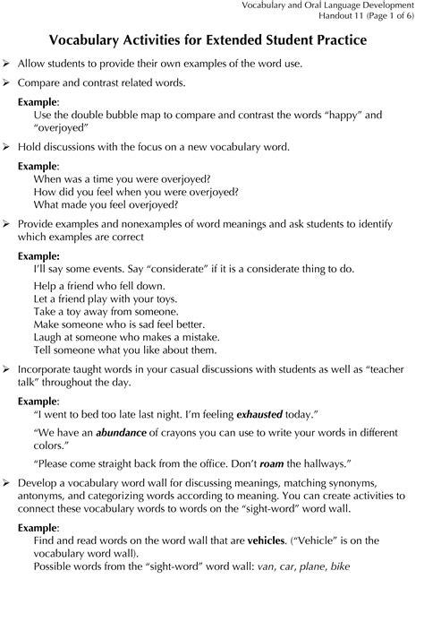 Vocabulary (first Grade)  Building Rti