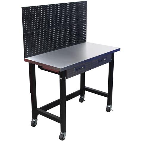 stainless steel top workbench  peg board  castors