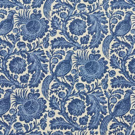 blue upholstery fabric blue large foliage bird flower motif upholstery fabric