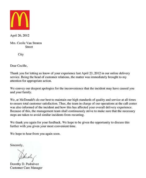 application letter exles mcdonalds 28 images mcdonalds