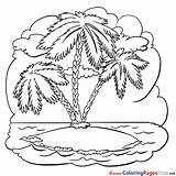 Palm Tree Island Printable Colouring Coloring Pages Sheet Sheets Title sketch template