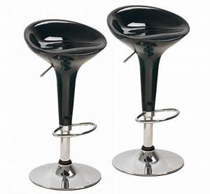 Tabouret De Bar Noir : tabouret de bar design noir laqu en acier chrom ~ Melissatoandfro.com Idées de Décoration