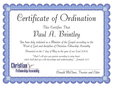 ordination certificate template pastoral ordination certificate by clay issuu