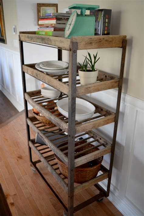etagere cuisine metal industrial shelving for bread antique in metal and wood