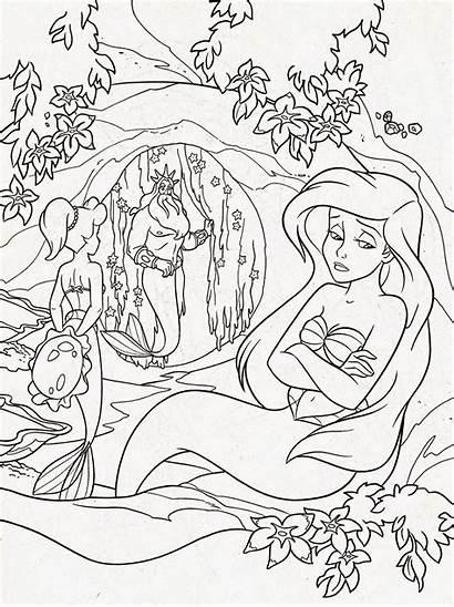 Coloring Disney Pages Ariel Mermaid Printable Adults