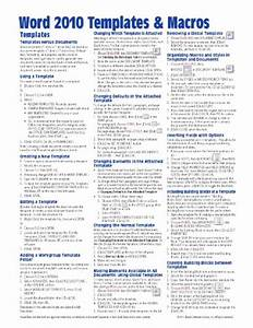microsoft word 2010 templates macros quick reference guide With cheat sheet template word