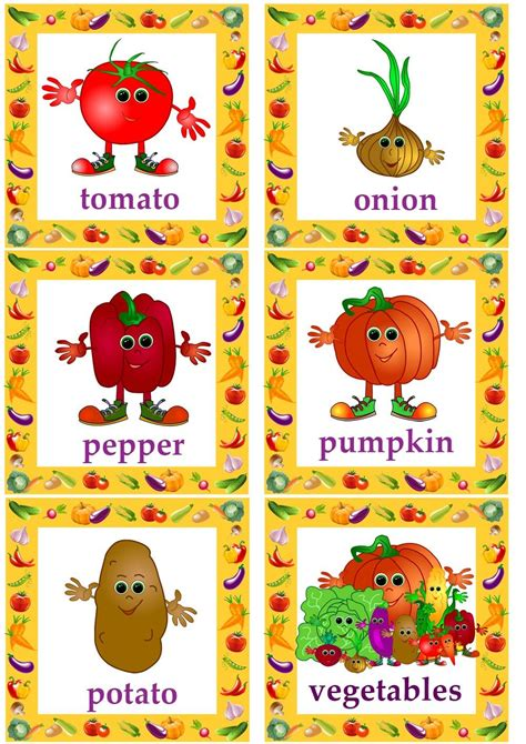 Vegetable Flashcards For Kids Learning English#esl Flashcards  Vegetables Flashcards, Colorings