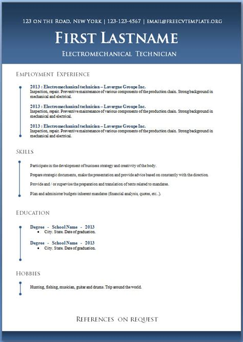 Word Resume Template 50 Free Microsoft Word Resume Templates For