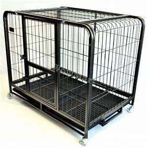 new 433939 large steel metal pet dog cat rabbit cage kennel With large steel dog crate