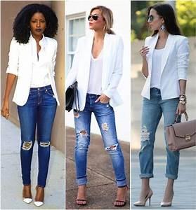 Para Inspirar - Blazer Branco e Jeans Rasgado! | Jeans rasgado Futilish e Jeans