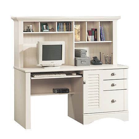 office depot white desk sauder harbor view collection computer desk with hutch