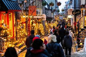 Christmas Decorated Deserted Street In Quebec City C Canada C Windows