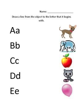 letter matching pre   kindergarten skills worksheet
