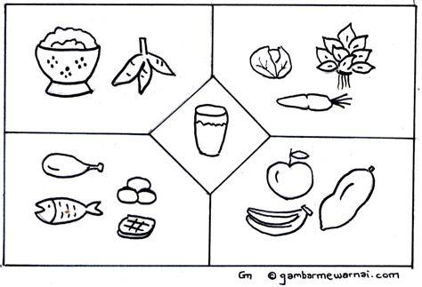 mewarnai gambar makanan dan minuman sehat