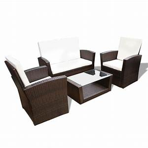 Rattan Lounge Set : vidaxl brown outdoor poly rattan lounge set with cushions ~ Orissabook.com Haus und Dekorationen