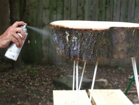 diy rustic  table  tree stump slice shelterness