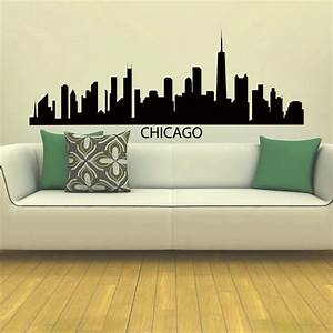 chicago skyline city silhouette vinyl wall art decal With chicago wall art