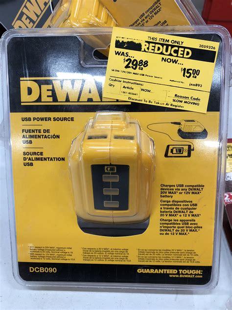 home depot dewalt usb battery adapter yellow tag