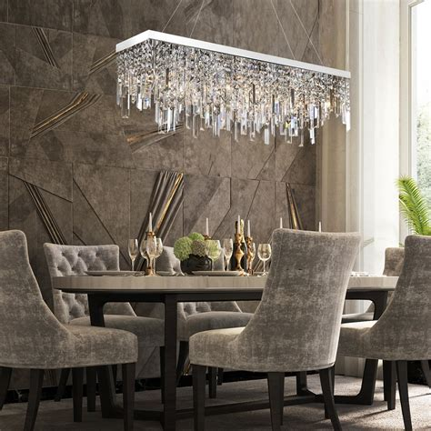 dining room rectangular crystal chandelier  linear