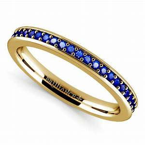 pave sapphire gemstone ring in yellow gold With wedding rings gemstones