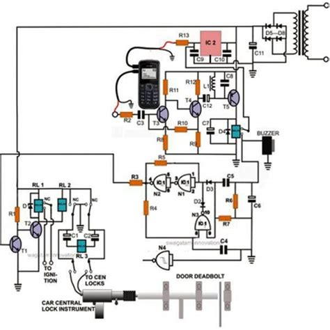 Cell Phone Controlled Door Lock Circuit Homemade
