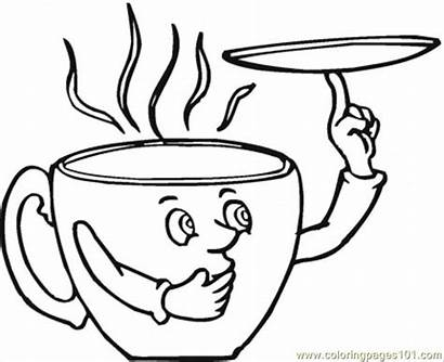 Coloring Cup Coffee Pages Printable Drawing Saucer